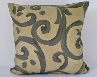 Abstract Swirls Print Decorative Cushion Cover in Olive and Charcoal 50cm x 50cm.