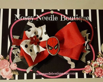 Spiderman hair bow, Spiderman hair clip, Spiderman headband, Spiderman birthday party, Spiderman girl outfit, Spiderman girl clothes