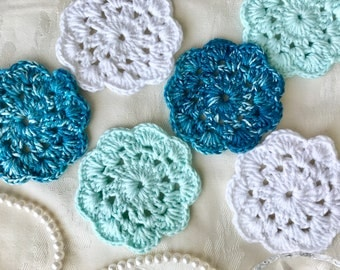 6 Blue Crochet Flower Coasters, White Crochet Flower Coasters, Turquoise Coasters, Royal Blue Coasters, White Coasters
