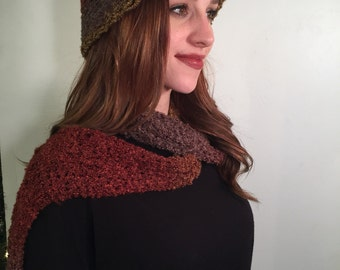 Multicolored beanie and matching scarf