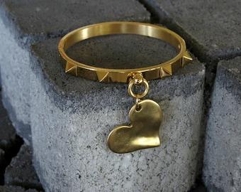 Heart bangle bracelet, heart cuff bracelet, gold heart bracelet, big gold heart bracelet, gold bangle, gold heart pendant
