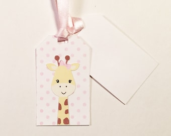 Giraffe Gift Tag with Pink Ribbon, Set of 5