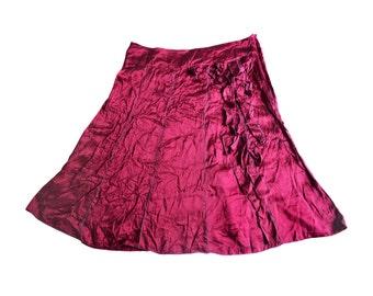 Vintage women skirt 100% silk purple violet