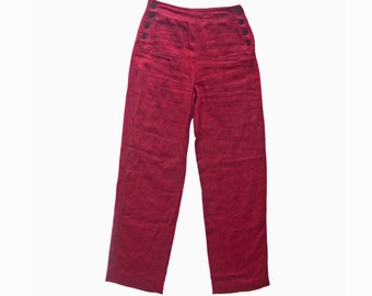 Vintage Alain Manoukian linen flax women pants red Bordeaux burgundy size 36