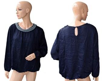 Vintage Perla Nera women top blouse navy blue