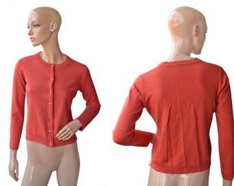 Vintage women cardigan red orange woolstar buttons