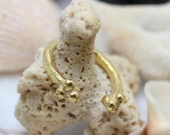 Resizable Handmade 925K Sterling Silver Ring 18K Gold Plated Over Silver