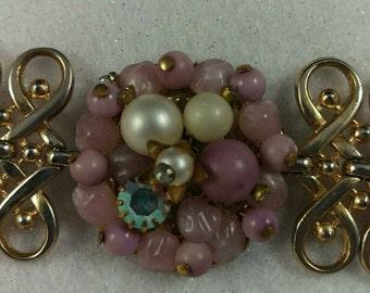 Gold Toned and Beaded Bracelet, 1950s, Aurora Borealis, Rhinestone