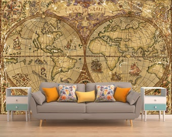 Map Peel And Stick,Wall Mural, Removable Wallpaper,Temporary Wallpaper, Self  Adhesive