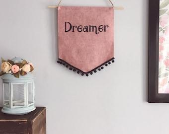 The Dreamer banner , felt banner, nursery banner, wallhanging, boho nursery