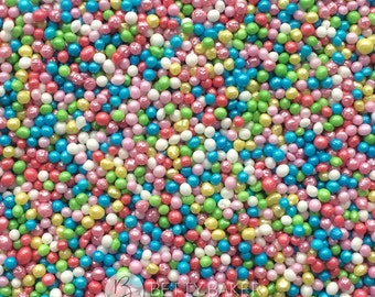 Rainbow Mix Glimmer Non Pareils, 100s and 1000s, Hundreds and Thousands Sugar Sprinkles, Cupcake or Cake Decorations