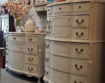Gorgeous Shabby Chic Painted French Provincial Dresser with Marble and Hi Boy