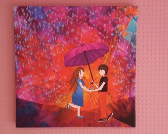 Art canvas 40x40 cm 'Lovers in the Rain'