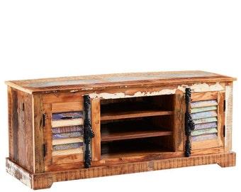 Coastal vintage TV/Media unit cabinet - Handmade from reclaimed wood