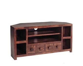 Toko dark mango 4 drawer tv unit cabinet with shelf - Handcrafted eco friendly