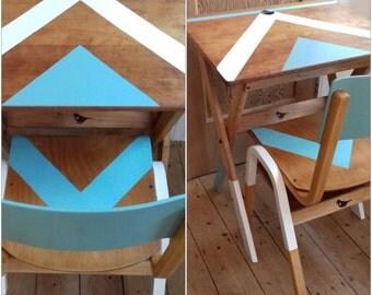 ESA Esavian desk - vintage wooden school desk - folding desk - vintage wooden chair - school chairs - chevron pattern - Liverpool