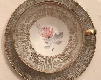Schwarzenbach Schaller & Co Winterling Gold Trim Pink Rose Footed Teacup Saucer 1935-1950