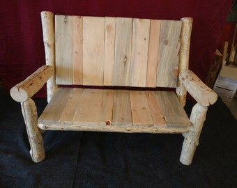 Log Furniture; Slab Back Love Seat