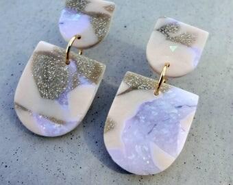 Scale Drop Earrings - Nude / Polymer Clay Earrings / Stud Earrings / Drop Earrings