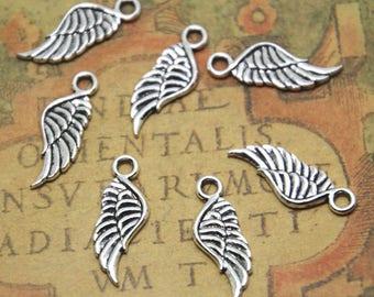 50pcs MINI angel wing charm Silver tone 2 sided wing pendants charms 21x7mm ASD1781