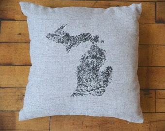 Michigan Made Pillow (Grey)