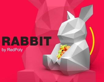 Rabbit Papercraft PDF DIY Low Poly paper Bunny Papercraft Sculpture Easter Rabbit Paper Craft Pets