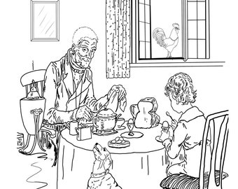 Breakfast With Grandpa-A Hand Drawn Vintage Coloring Page