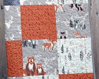 """Woodland Baby Quilt, Hello Bear Quilt, Toddler Quilt, Deer Quilt, Modern Quilt, Handmade Quilt, Child Quilt, Nursery Quilt,  40"""" x 56"""""""