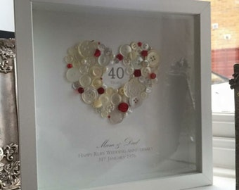 40th Wedding Anniversary, Personalised 40th Ruby Wedding Anniversary Button Gift Frame, 40th Ruby