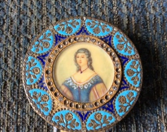 French Enamel Miniature Portrait Compact Box