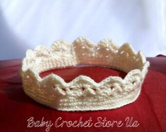 Baby Crochet Crown Tiara Cute Baby Crown Baby Girl Crown Girl Crochet Tiara Baby Crochet Crown Headband