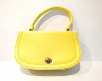 Vintage Yellow Vinyl Handbag 1950s 1960s 1970s
