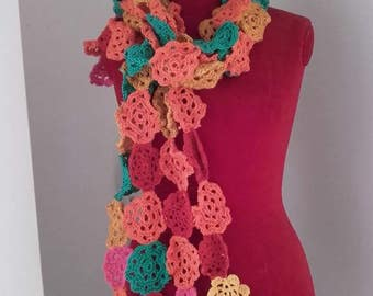 Crochet scarf with flower fancy colors