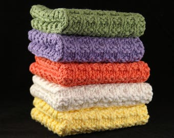Knit Dishcloths, Set of 3, Choice of Color, Knit Washcloth, Cotton Washcloth, Housewarming Gift, Face Cloth, Eco Friendly, Kitchen Linens