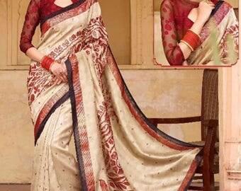 Indian Saree- Beige & Maroon Cochin Silk Saree