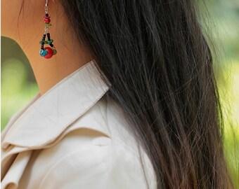 Handmade bohemian  style dangle earringgs