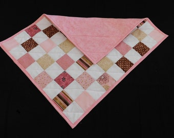 Doll Quit - Sized for American Girl Dolls - 16 x 20 - Handmade - Pink, White, Brown - Machine Quilted - Modern Scrap Quilt - Basket Filler
