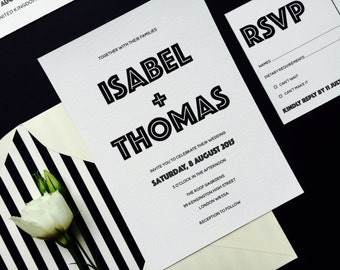 Black and White Wedding Invitation and RSVP - Bold Elegant Wedding Invitation - Simple Chic Wedding Invite