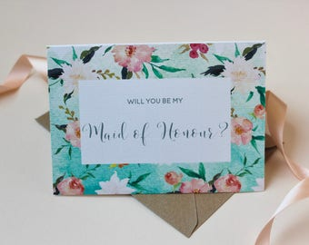 Will you be my Maid of Honour card | Floral Maid of Honour card | Wedding card