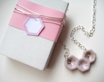 Chain silver of 925 pink honeycomb 6 ceramic