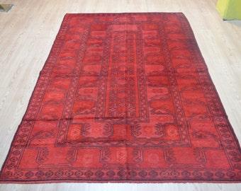 Overdyed rug. Vintage Turkish carpet. Vintage overdyed rug. Free shipping. 7.9 x 4.8 feet.