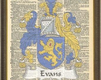Evans Welsh Family Crest artwork. Welsh coat of Arms vintage gift. Vintage prints.