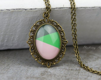 Dip Dye Necklace  Greenery & Kale - hand painted necklace - minimalistic, everyday jewelry