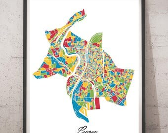 Poster A3, A2 card Lyon Multicolor Map - City map, city Poster, wall Decoration, city map, printing of Art
