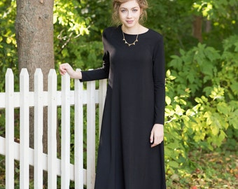 Tunic dress, midi dress, black dress, long sleeves, modest dress