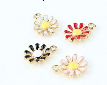 10pcs Oil SunFlowers Charms Pendant , Daisy Flower Pendant, Chrysanthemum Charms for Bracelet Necklace Pendants DIY Accessories