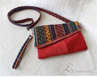 Shoulder bag, clutch, wrist bag, cord and leather, Upcycling