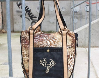 Shoulder bag, shopper, African style, elephant