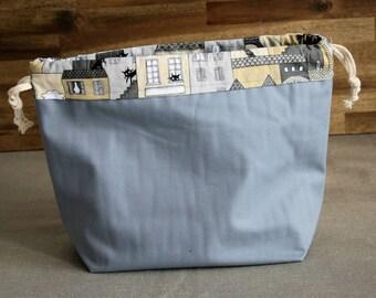 Drawstring gray kitties project bag, for knitting or crochet