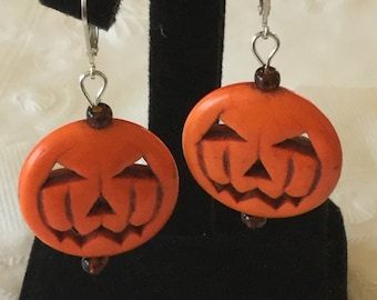 Jack-o-lantern earrings- large